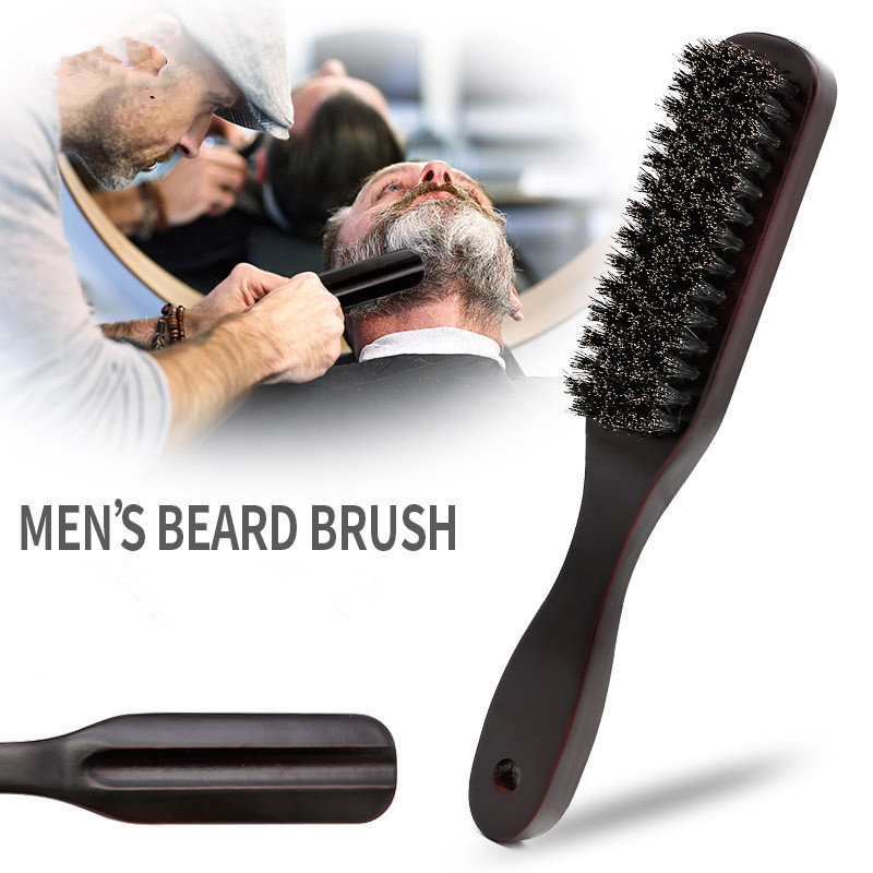 1PC Wood Handle Boar Bristle Cleaning Brush Hairdressing Men Beard Brush Anti Static Barber Hair Styling Comb Shaving Tools
