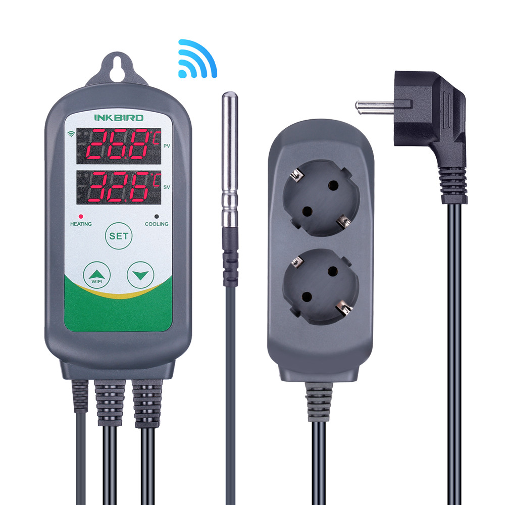 Inkbird ITC-308 & 308 WI-FI EU Plugue Regulador de Temperatura Digital Controlador Do Termostato Dupla Relés Heating & Cooling Homebrewing