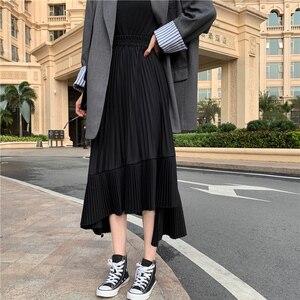 Image 4 - LANMREM katı renk elastik yüksek bel dikiş Ruffled düzensiz Pleats kadın etek basit moda 2020 sonbahar yeni TV518