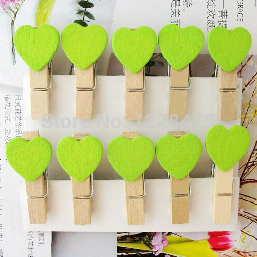10PCS/lot New Fashion Cute Special Gift Green Color Heart Wooden Clip Mini Bag Clip Paper Clip Wood Pegs