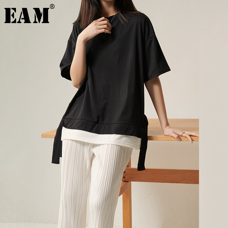 [EAM] Women Black Ribbon Vent Split Joint Big Size T-shirt New Round Neck Half Sleeve  Fashion Tide  Spring Summer 2020 1T261