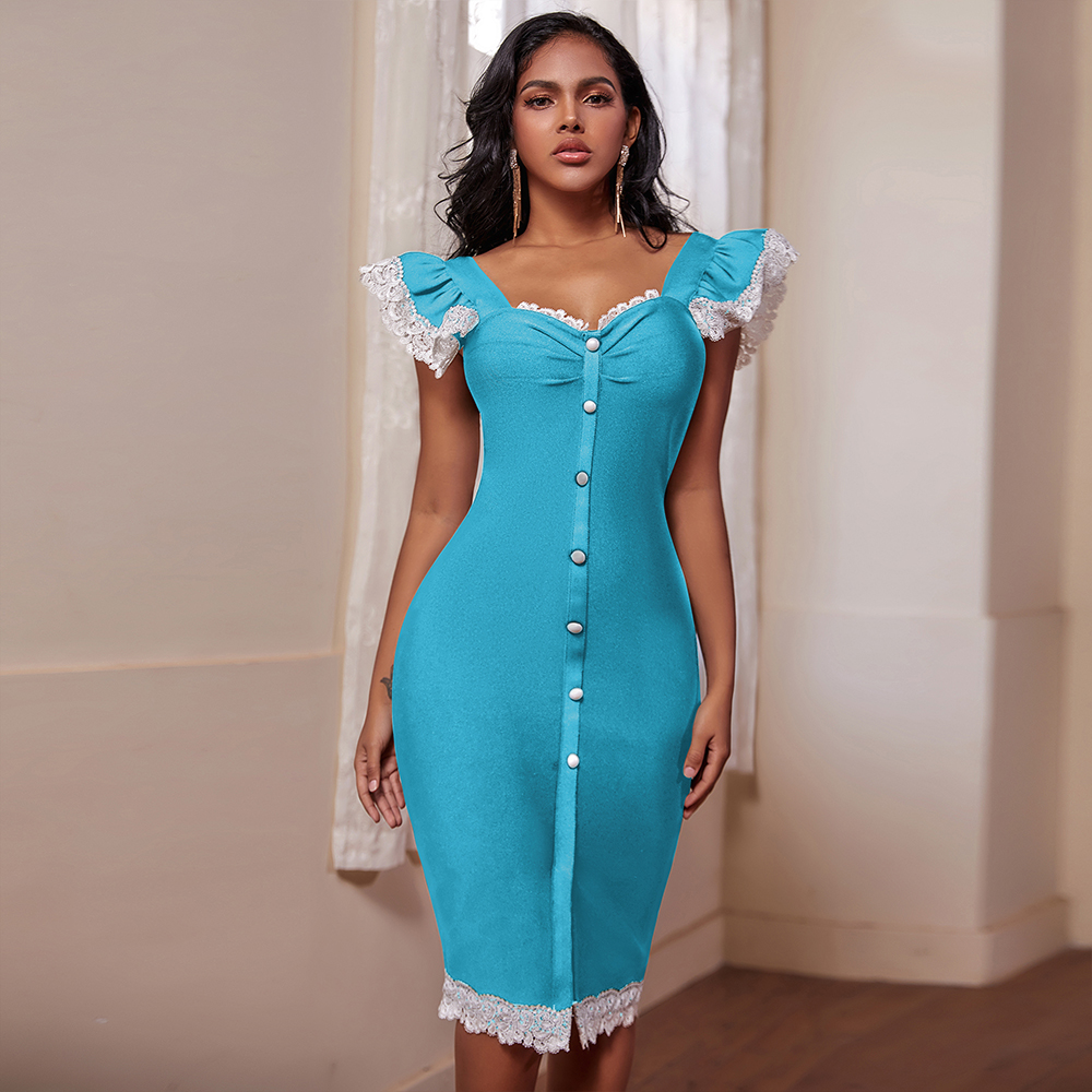 Ocstrade Lace Bandage Dress 2020 New Arrival Women Elegant Sexy Blue Bandage Dress Bodycon Celebrity Evening Party Club Dress