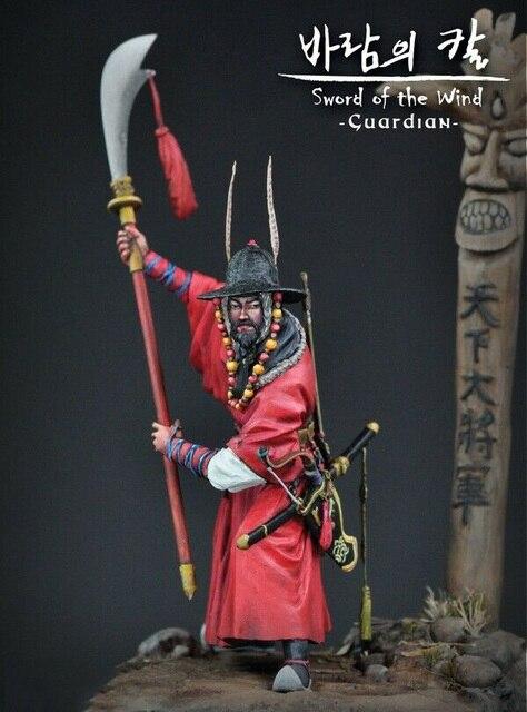 1/24 75 millimetri antichi Samurai Guardiano con grande base di figura In Resina kit Modello In Miniatura gk Unassembly Non Verniciata