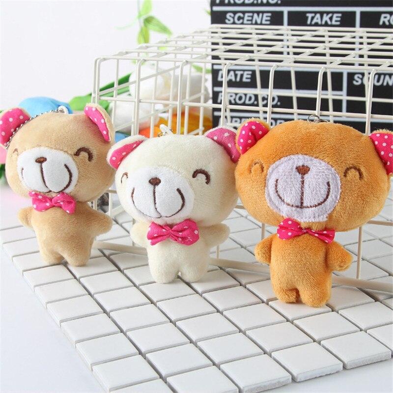 Cute Minil Soft Teddy Bear Handbag Charms For Girls Plush Key Ring Doll Backpacks Plush Keychain Porte Clef Stuffed Animal Toys