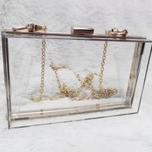 Clear Purse Handbags Crossbody-Bag Evening-Clutch Acrylic Transparent See-Through Women