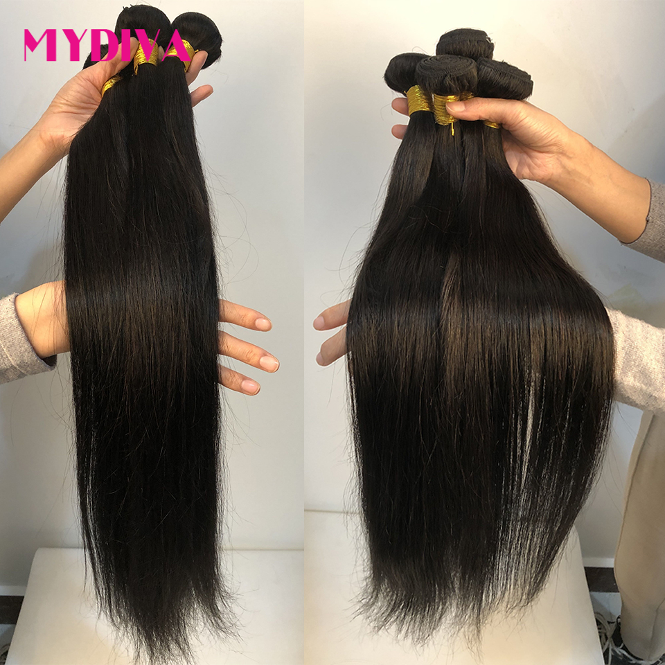 Mydiva 8-34 36 38 <font><b>40</b></font> Inch Brazilian Hair Weave Bundles Straight <font><b>100</b></font>% Human Hair 3/4 Bundles Natural Color Remy Hair Extensions image