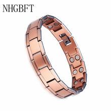 Nhgbft винтажный квадратный красный медный браслет для мужчин