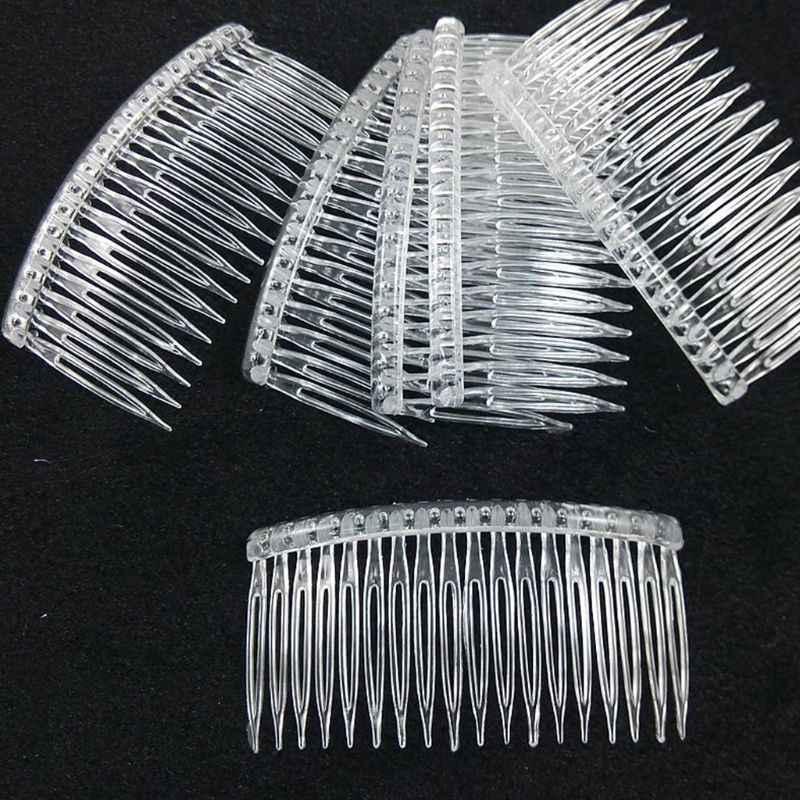 7x5 سنتيمتر 15 الأسنان يتوهم Plastic بها بنفسك مشبك شعر البلاستيك مشط النساء الزفاف طرحة زفاف حامل شفافة الجمال التصميم أداة