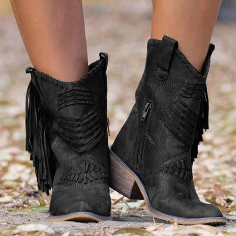 シュージン新自由奔放に生きるフロック革の女性のブーツフリンジフラットヒール女性 Med 高固体ブーツ女性タッセル Bota Ş Mujer ボッテファム