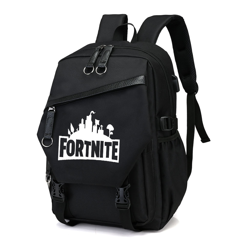 Fortnite Game Mobilefortress Night Canvas Backpack Student School Bag Computer Bag With USB