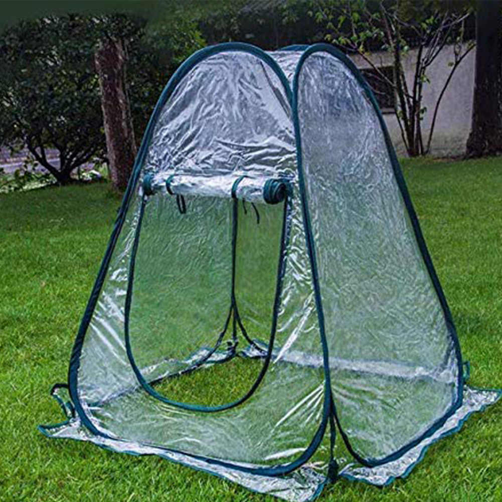 Mini Pop Up Greenhouse Tent Small Indoor with Clear Cover PVC Foldable Flowerpot Cover Portable Flower Tent Shelter for Garden Backyard 70x70x80cm