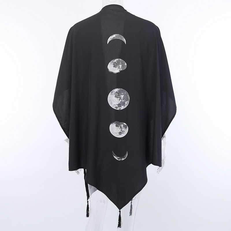 InsGoth שחור שכמיות מעיל בציר ירח הדפסת גותי Loose נשים עטלף דופלקס צעיף ארוך שרוול גלימת סתיו נשי הלבשה עליונה