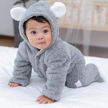 Winter Newborn Baby Warm Jumpsuit Unisex Cute Bear Ears Romper Long Sleeve Outfit