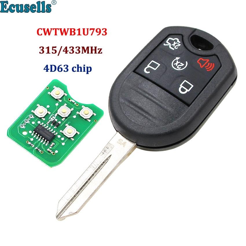 5 Button Remote Key Fob for Ford Expedition Explorer Taurus Flex 315/433MHz with 4D63 80bit Chip FCC: CWTWB1U793|Car Key|   - AliExpress