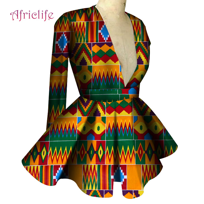Fall Clothes For Women 18 Colors Slim High Waist Long Sleeve Sexy V Collar Lady Fashion Top African Dashiki Print Blouse WY4150