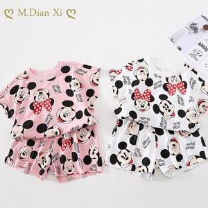 Kreskówka Minnie dziewczyna lato nowe produkty garnitur dziecięcy koreański moda chłopcy i dziewczęta sukienka koszula z nadrukiem + spodnie
