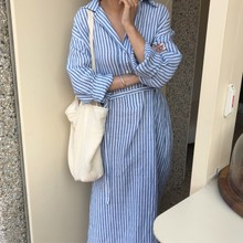 Fresh Lazy Vertical Stripes Flax Breathable Sunscreen Long-sleeved Shirt Dresses for Women In 2019 Striped Dress