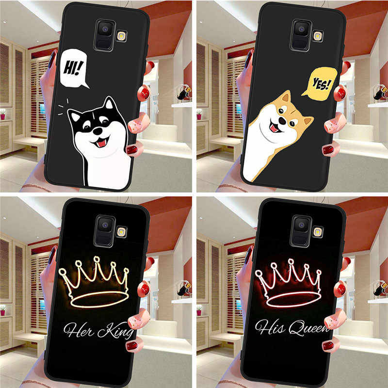 king queen Couple For Samsung Galaxy A9 A8 A7 A6 A5 A3 J3 J4 J5 J6 J8 Plus 2017 2018 M30 A40S A10 A20E phone Case Cover  etui
