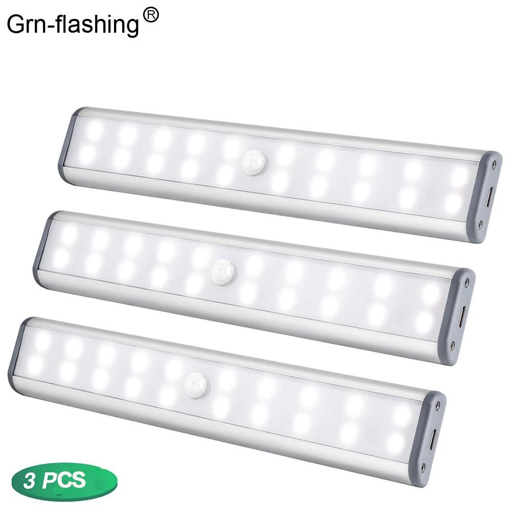 1 2 3PCS 20 LEDs LED Under Cabinet Lights USB Rechargeable Magnetic PIR Night Light White Light Cabinet Closet Wardrobe Lighting