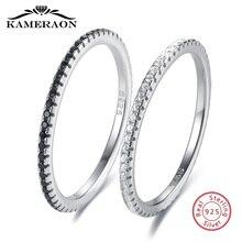 Dünne 925 Silber Schmuck Shiny Zirkon frauen Ringe Schwarz Weiß Gepaart Sterling Silber Ring Solide Bands Feine Minimalismus Monaco