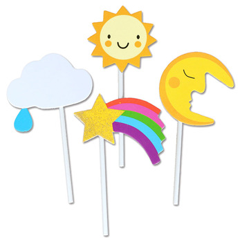 Little sta/moon/sun Cupcake Topper Theme Cartoon Party Supplies Kids Boy Birthday Party Decorations image