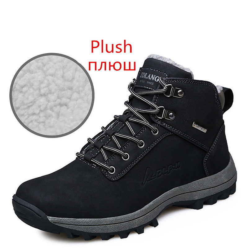 Big Size 45-47 Fashion Snow Boots Winter Wedges Lace Up Short Plush Warm Ankle Boots For Boys Black Shoes Man Casual Rubber