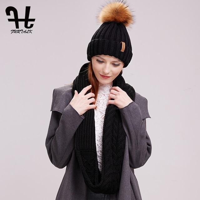 FURTALK 冬ビーニー帽子とスカーフセット女性の秋だらしない帽子インフィニティスカーフ帽子ニット Skullies ビーニー帽子のための女の子