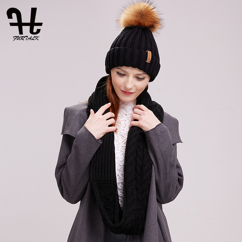 FURTALK Winter Beanie Hat And Scarf Set For Women Autumn Slouchy Hat Infinity Scarves Hat Knit Skullies Beanies Hats For Girls