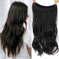 Black Hair Extensions Invisible Wire Halo Hair pieces Body Wave No Clip 20 inch For Women Heat Resistant Synthetic Fiber Party