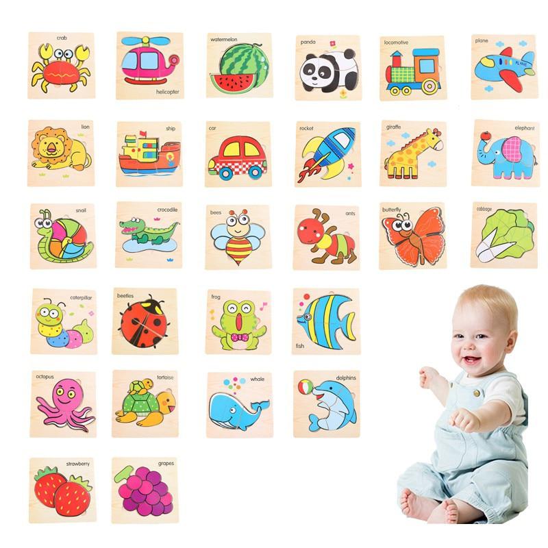 Let'S Make 1 шт. игрушки Монтессори квадратный деревянный пазл мультфильм Ранние развивающие детские игрушки деревянный пазл, игрушки