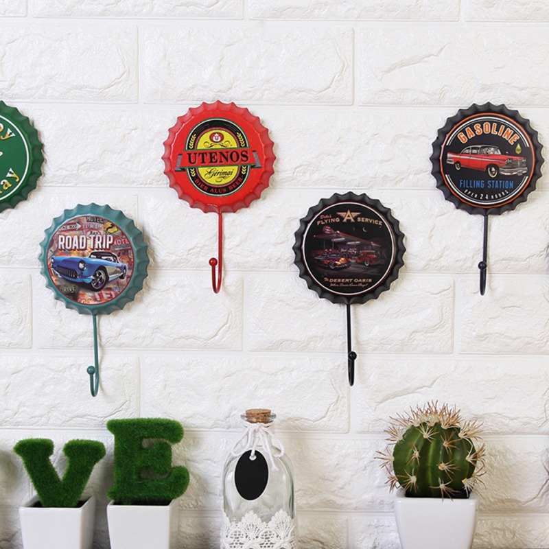 Creative Beer Cover Hook Vintage Wrought Iron Beer Cover Hook Wall Hanger Buckle Home Kitchen Wall Door Decoration HooksGM