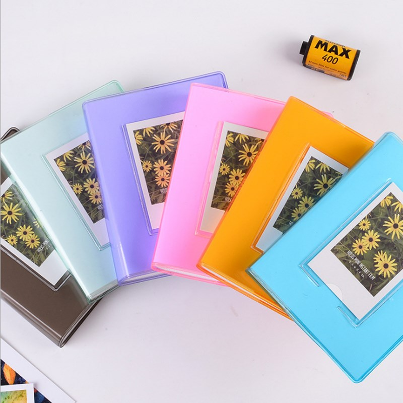 64 Pocket Jelly Series transparente Mini álbum de fotos insertar álbum de fotos de polipropileno libro de tarjetas de visita Polaroid 3 pulgadas regalo