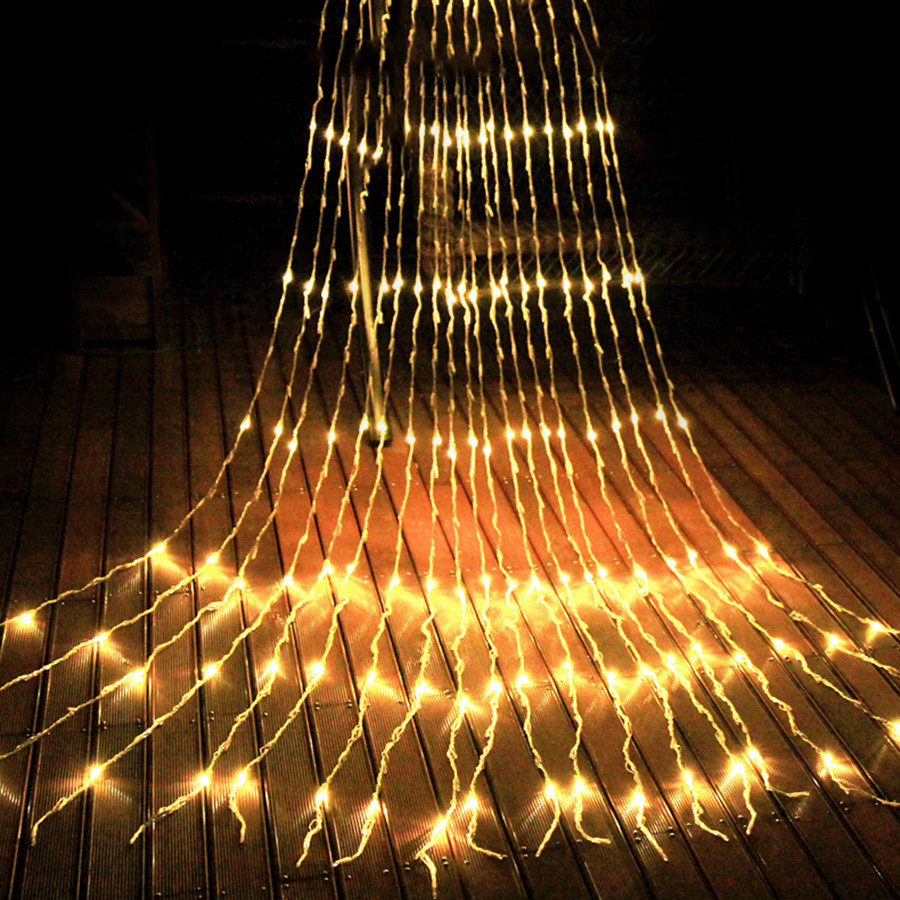 Thrisdar 3x3M 320 LED Waterfall Curtain Icicle String Light Christmas Wedding Party Garden Snowing Wall Icicle Light Garland