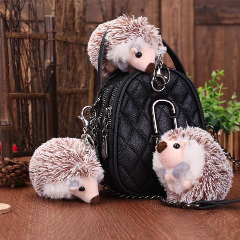 10cm Cute Fashion Plush Pompon Hedgehog Animal Keychain Bag  Mobile Phone Pendant Keyring