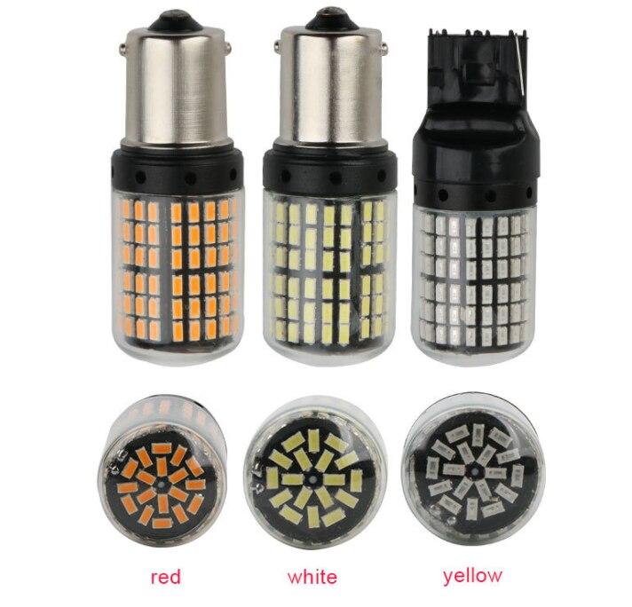 От DHL или FedEx, 50 шт в наборе, T20 7440 W21W светодиодный лампы 3014 144smd светодиодный CanBus1156 BA15S P21W BAU15S PY21W светодиодный светильник для Поворотная сигнальная лампа
