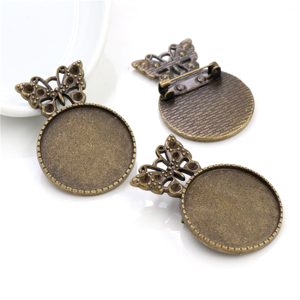 New Fashion 5pcs 25mm Inner Size Antique Bronze Colors Plated Butterfly Style Brooch Cabochon Base Setting-A6-06