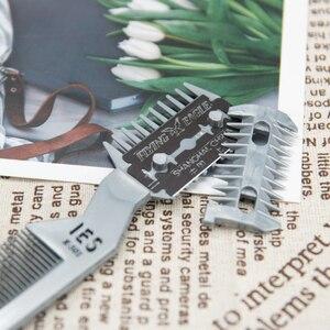Image 3 - 1 pc escova de cabelo profissional pente navalha de corte de barbear desbaste pente trimmer pente com lâmina pentes ferramenta estilo do cabelo
