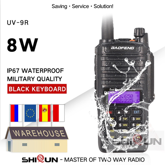 8W Baofeng UV 9R IP67 Waterproof Dual Band 136 174/400 520MHz Ham Radios 10KM Baofeng 8W Walkie Talkies 10 KM UV 9R UV 82 UV XR