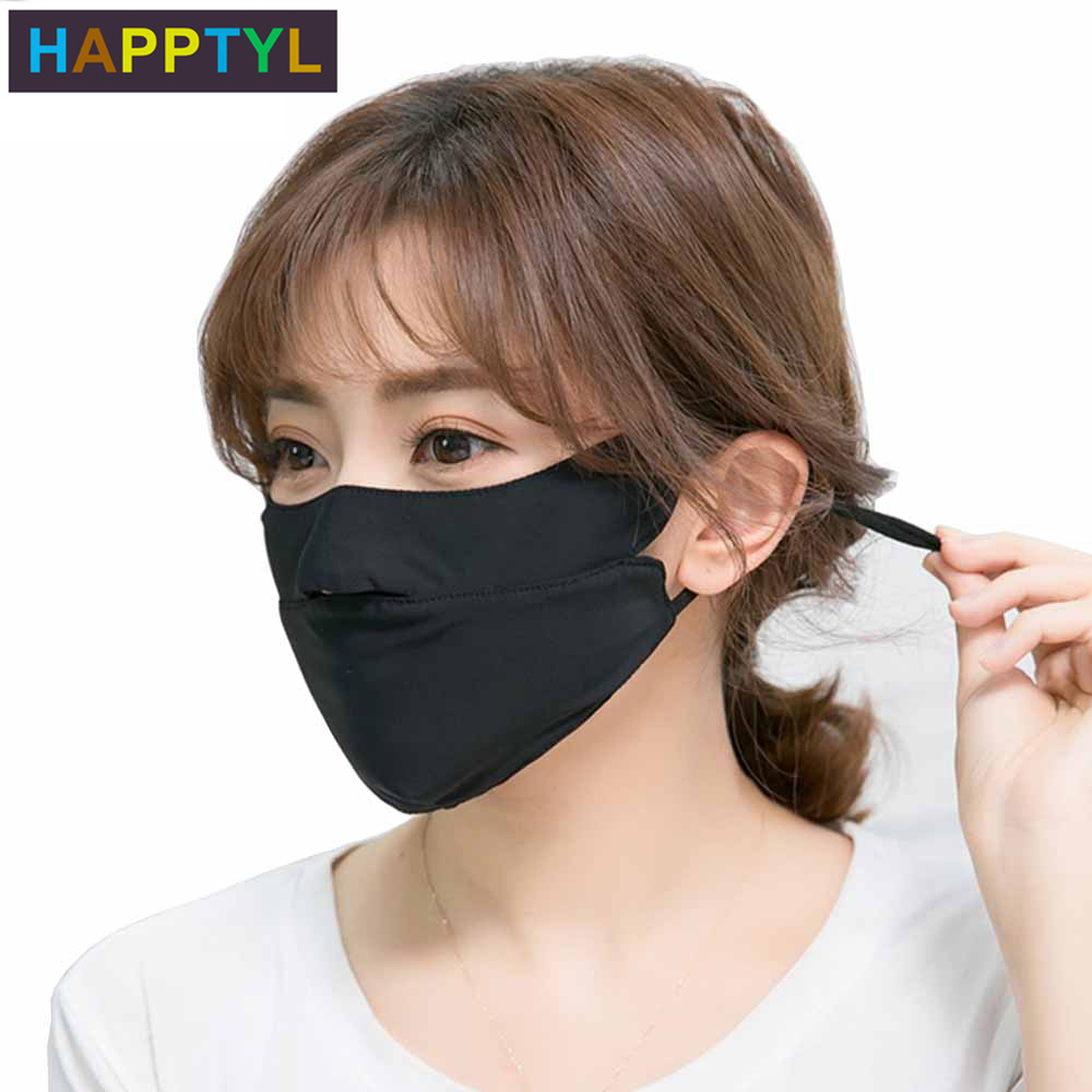 HAPPTYL 1Pcs Sunscreen Open Nose Mouth Mask Unisex Summer Ice Silk Thin Windproof Washable Adjustable Earloop Respirator