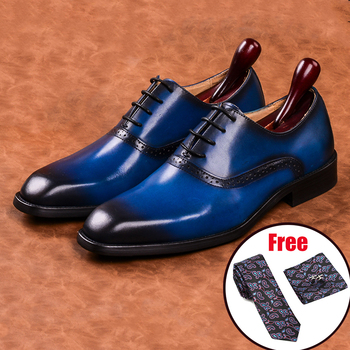 Men leather shoes business dress suit shoes men brand Bullock genuine leather black laces wedding mens shoes Phenkang 2020 vivodsicco fashion gold metal signature shark tooth genuine leather men loafers carved bullock party men printing dress shoes