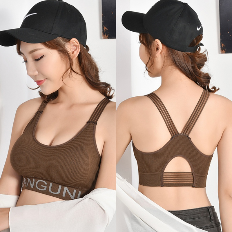 New No Steel Ring Sports Bra Wrapped Chest Female Letter Print Gathered Beauty Back Tube Top