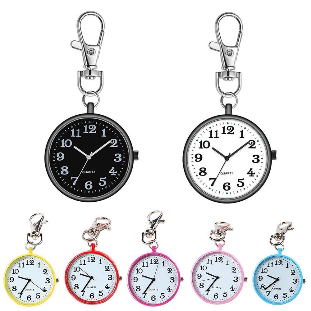 Fashion Pocket Watch Unisex Round Dial Quartz Analog Nurse Medical Keychain Pocket Watch Quartz Clock Watch Keychain Gift Kids