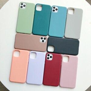 Image 2 - Manque solide couleur Silicone Couples étuis pour iphone XR X XS Max 6 6S 7 8 Plus 11 11Pro Max mignon couleur bonbon doux Simple mode coque de téléphone nouveau