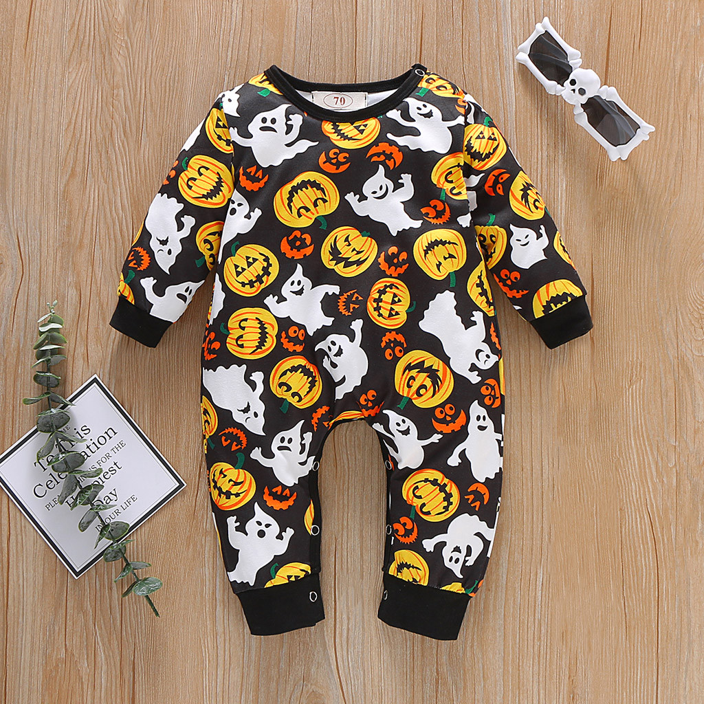 Infant Pumpkin Costume | Newborn Infant Baby Boy Girl Halloween Pumpkin Costume Romper Jumpsuit Outfits Halloween Baby Outfits Baby Girl Newborn Clothing