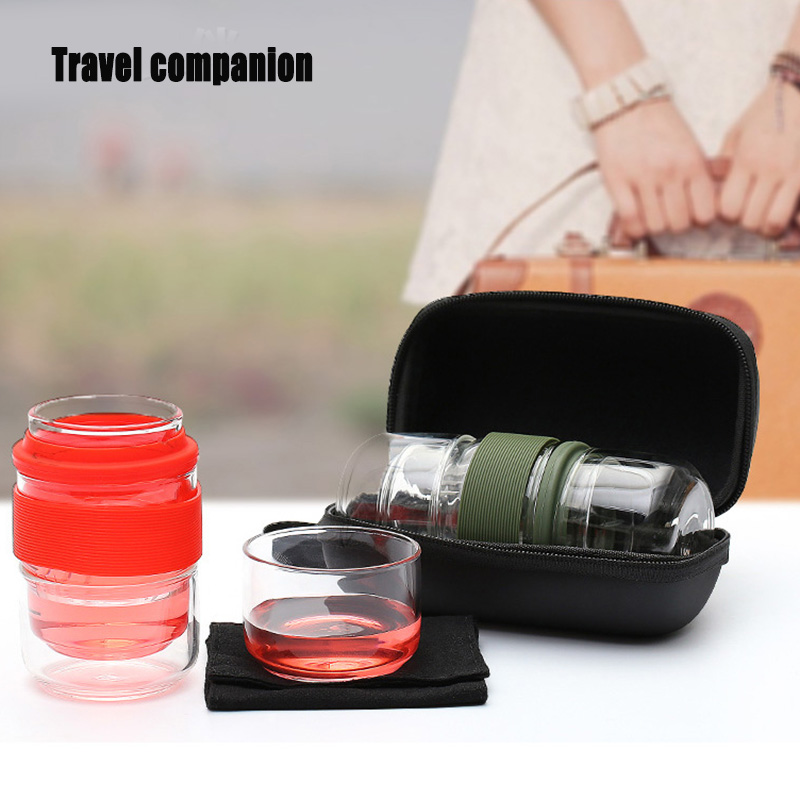 Travel Tea Set Kung Fu Tea Pot With Portable Case Glass Teacups With Infuser For Travel Home  P666