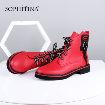 SOPHITINA Ankle Boots Red Black Cow Leather Comfortable Casual Shoes Woman High Quality Zipper Round Toe Flat Boots C642 haraval handmade winter woman long boots luxury flock round toe soft heel shoes elegant casual warm retro buckle solid boots 289
