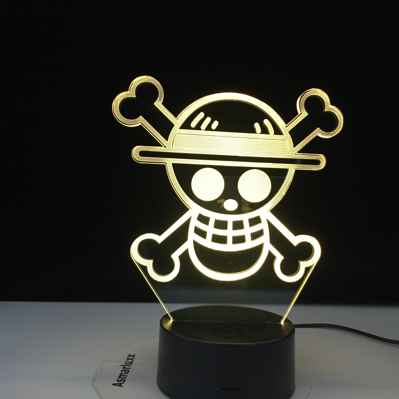 Anime ONE PIECE LOGO Kids Night Light Led Touch Sensor Colorful Nightlight For Child Bedroom Decoration Cool Desk 3d Lamp Gift
