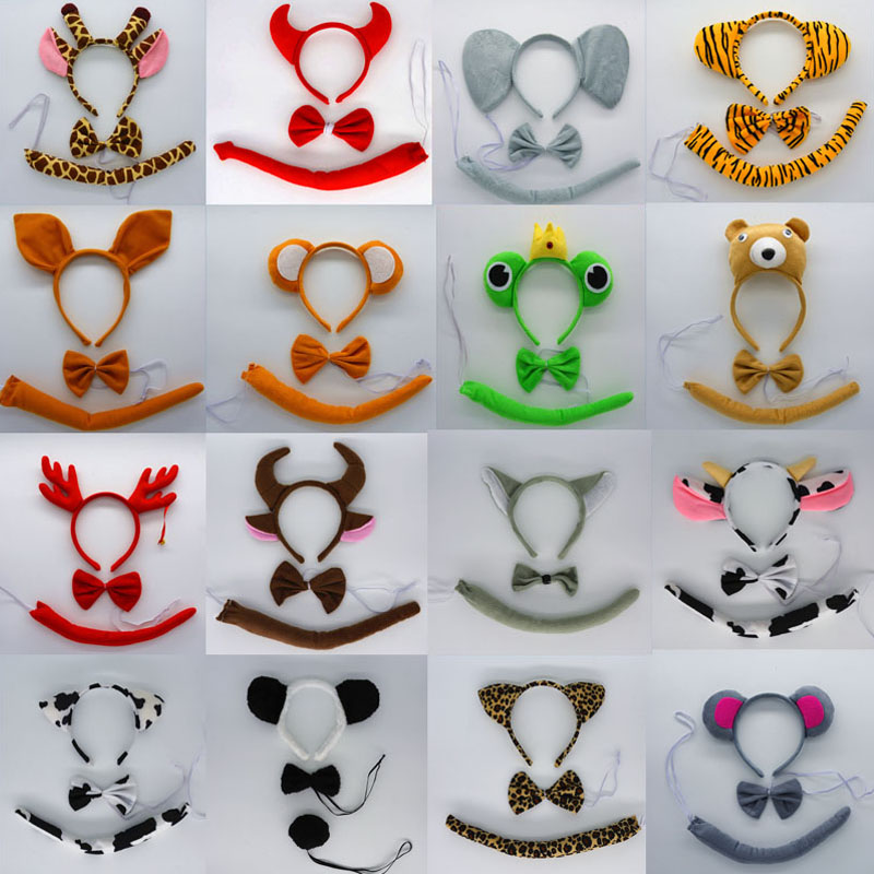 Child Adult Boy Girl Kids Animal Ears Headband Tie Tail Bow Set Cosplay Costume Birthday Party Gift Hair Accessories Baby Shower