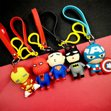Avengers Key Ring Iron Man Captain America PVC3D Soft Rubber Pendant Doll Chain