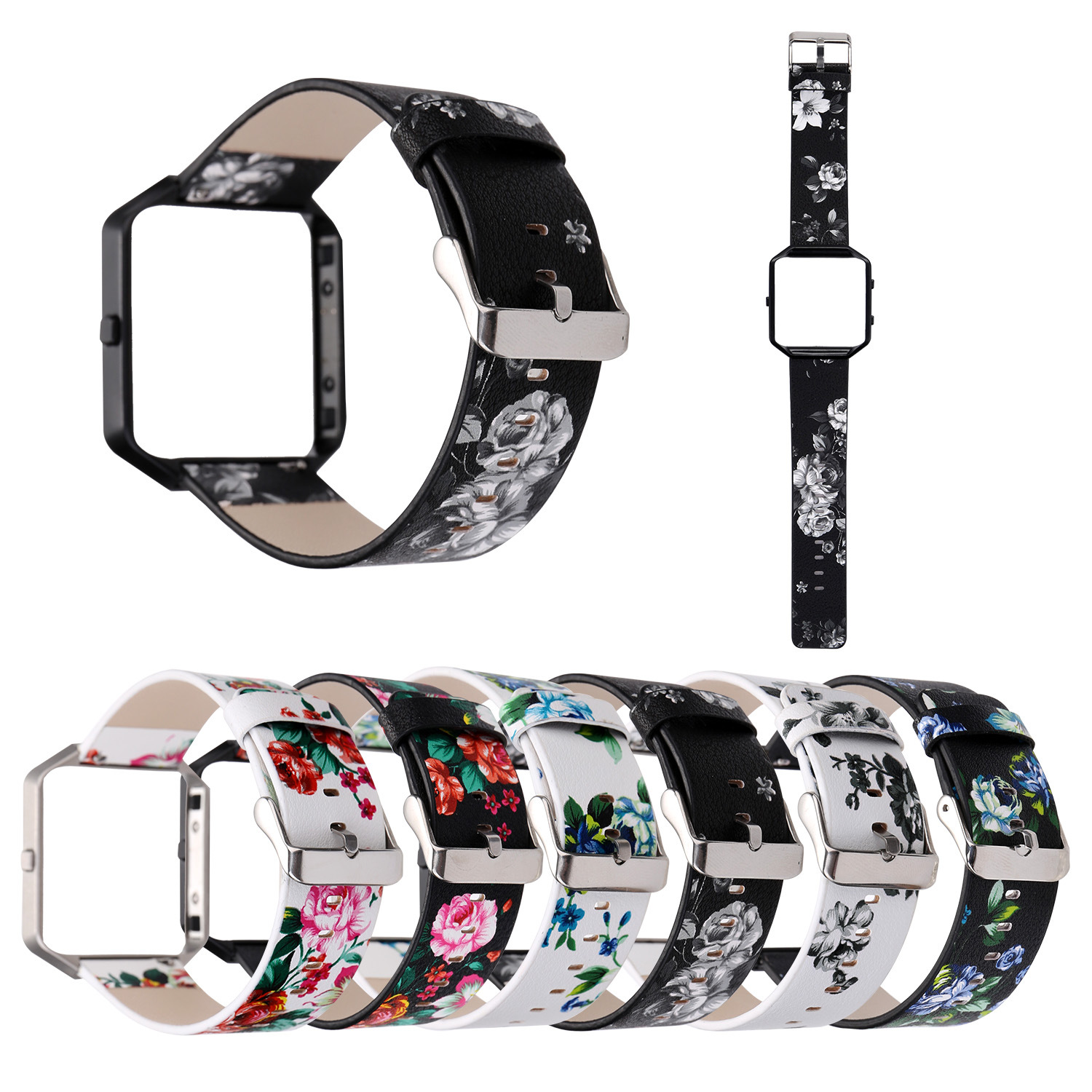 Applicable Fitbit Blaze Watch Strap Printed Pastoral Style Leather Watch Strap Smart Watch Old Floral-Print FB Leather Watch Str